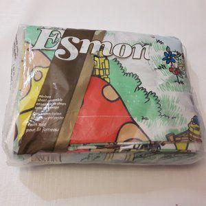 Vintage ESMOND Sheet Set NIP Smurfs